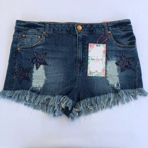Almost Famous Hi-Rise Distressed Denim Shorts